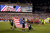 United States starting eleven during playing of national anthem. The men's national teams of the United States (USA) and Mexico (MEX) played to a 1-1 tie during an international friendly at Lincoln Financial Field in Philadelphia, PA, on August 10, 2011.