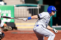 Kyle Burnam (3) of the Indiana State Sycamores follows through his swing during a game against the Evansville Purple Aces in the 2012 Missouri Valley Conference Championship Tournament at Hammons Field on May 23, 2012 in Springfield, Missouri. (David Welker/Four Seam Images)