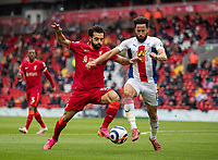 23rd May 2021; Anfield, Liverpool, England; EPL Premier League football, Liverpool versus Crystal Palace:  Liverpool's Mohamed Salah is challenged by Crystal Palace's Andros Townsend during the Premier League match between Liverpool and Crystal Palace at Anfield