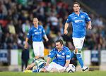 St Johnstone v Celtic...13.08.14  SPFL<br /> Tom Scobbie is fouled by Stefan Johansen<br /> Picture by Graeme Hart.<br /> Copyright Perthshire Picture Agency<br /> Tel: 01738 623350  Mobile: 07990 594431