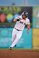 Salem Red Sox right fielder Tyler Hill (24) runs the bases during a game against the Lynchburg Hillcats on May 10, 2018 at Haley Toyota Field in Salem, Virginia.  Lynchburg defeated Salem 11-5.  (Mike Janes/Four Seam Images)