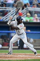 Mahoning Valley Scrappers outfielder D'vone McClure (1) at bat during a game against the Batavia Muckdogs on August 22, 2014 at Dwyer Stadium in Batavia, New York.  Mahoning Valley defeated Batavia 2-1.  (Mike Janes/Four Seam Images)