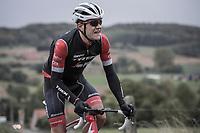 Jasper Stuyven (BEL/Trek Segafredo) trying to make the connection with the peloton after it was cut to pieces after a crash. <br /> <br /> 78th Euro Metropole Tour 2018<br /> La Louvière – Tournai (BEL): 206km
