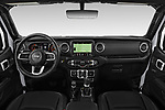 Stock photo of straight dashboard view of a 2020 Jeep Gladiator Overland 4 Door Pick Up
