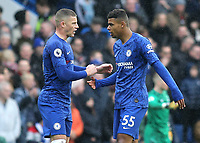 Ross Barkley of Chelsea has a quiet word with Chelsea substitute, Faustino Anjorin during Chelsea vs Everton, Premier League Football at Stamford Bridge on 8th March 2020