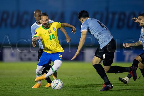 17th November 2020; Centenario Stadium, Montevideo, Uruguay; Fifa World Cup 2022 Qualifying football; Uruguay versus Brazil;  Nicolás De La Cruz of Uruguay and Éverton Ribeiro of Brazil