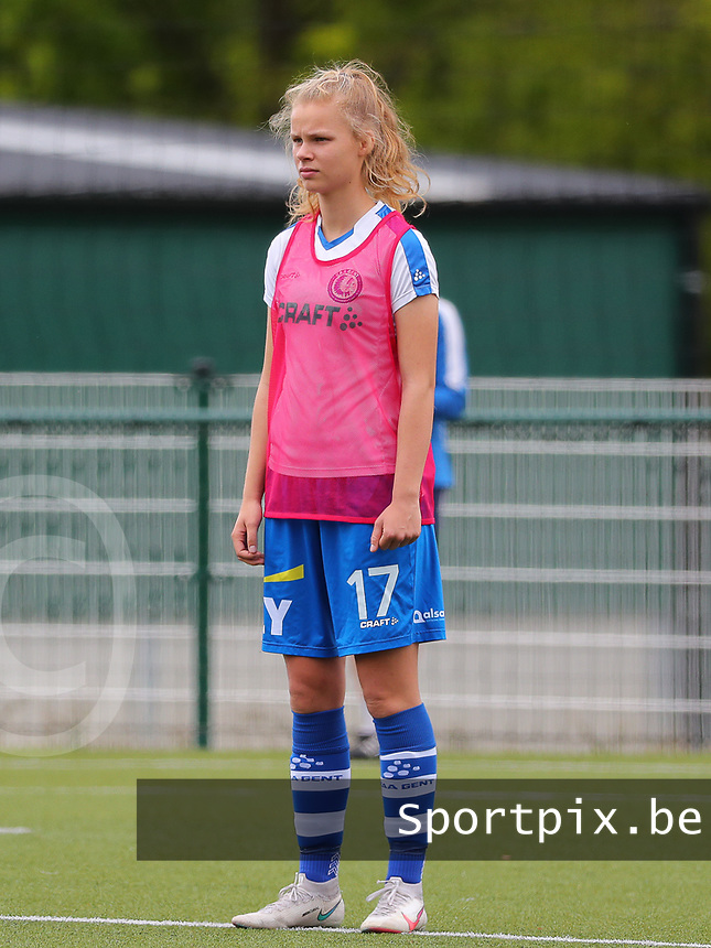 Lore Jacobs (17) of AA Gent pictured during the warm up before a female soccer game between Oud Heverlee Leuven and AA Gent Ladies on the 9 th matchday of play off 1 in the 2020 - 2021 season of Belgian Womens Super League , saturday 22 nd of May 2021  in Heverlee , Belgium . PHOTO SPORTPIX.BE | SPP | SEVIL OKTEM