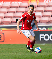 24th April 2021, Oakwell Stadium, Barnsley, Yorkshire, England; English Football League Championship Football, Barnsley FC versus Rotherham United; Jordan Williams of Barnsley on the ball