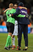 Carlos Bocanegra (center) of USA celebrates with Tim Howard (left) and Brad Guzan (right) at full-time. USA defeated Spain 2-0 during the semi-finals of the FIFA Confederations Cup at Free State Stadium in Manguang/Bloemfontein, South Africa on June 24, 2009..