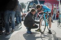 Hugo Houle (CAN/AG2R-LaMondiale) before the start<br /> <br /> 72nd Dwars Door Vlaanderen (1.UWT)<br /> 1day race: Roeselare › Waregem BEL (203.4km)