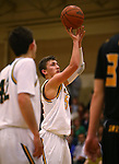 Manogue's Zachary Wurm shoots a free throw against Galena at Manogue High School in Reno, Nev., on Tuesday, Feb. 11, 2014. Manogue won 66-59.<br /> Photo by Cathleen Allison