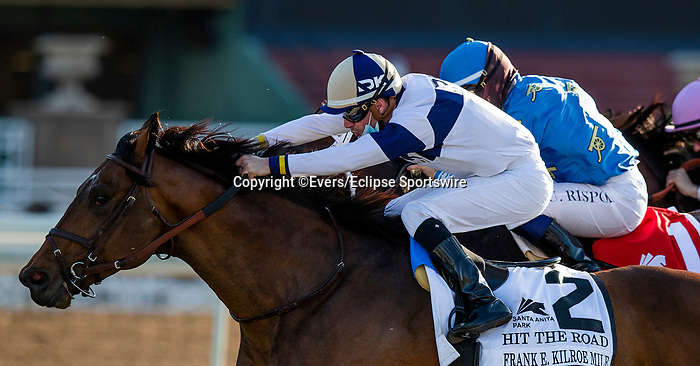 March 06, 2021: Hit the Road with Florent Geroux wins the Frank E. Kilroe Mile Stakes at Santa Anita Park in Arcadia, California on March 06, 2021. Evers/Eclipse Sportswire/CSM