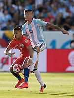 Action photo during the match Argentina vs Chile, Corresponding Group -D- America Cup Centenary 2016, at Levis Stadium<br /> <br /> Foto de accion durante el partido Argentina vs Chile, Correspondiante al Grupo -D-  de la Copa America Centenario USA 2016 en el Estadio Levis, en la foto: (i-d) Alexis Sanchez de Chile y Marcos Rojo de Argentina<br /> <br /> <br /> 06/06/2016/MEXSPORT/David Leah.