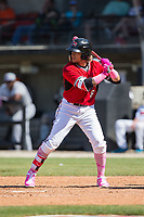 Isan Diaz (6) of the Carolina Mudcats at bat against the Winston-Salem Dash at Five County Stadium on May 14, 2017 in Zebulon, North Carolina.  The Mudcats walked-off the Dash 11-10.  (Brian Westerholt/Four Seam Images)