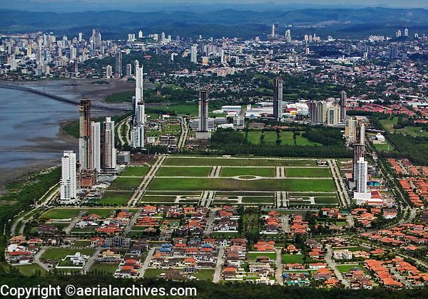 aerial photograph of the construction of Costa del Este, Panama City,  Panama