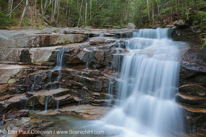Stairs Falls along Dry Brook in Franconia Notch State Park of the New Hampshire White Mountains. The Falling Waters Trail passes by this small waterfall.