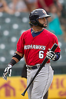 Oklahoma City RedHawks designated hitter Jonathan Villar (6) walks back to the dugout after striking out during the Pacific Coast League baseball game against the Round Rock Express on August 1, 2014 at the Dell Diamond in Round Rock, Texas. The Express defeated the RedHawks 6-5. (Andrew Woolley/Four Seam Images)