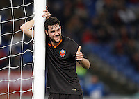 Calcio, Tim Cup: Roma vs Empoli. Ottavi di finale a gara unica. Roma, stadio Olimpico, 20 gennaio 2015.<br /> Roma's Mattia Destro gives his thumb up during the Italian Cup round of 16 football match between Roma and Empoli at Rome's Olympic stadium, 20 January 2015.<br /> UPDATE IMAGES PRESS/Riccardo De Luca