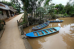 Flat-bottomed boats such as these are used to transport local people, cargo and tourists through the countless narrow waterways of the Mekong Delta, near My Tho, Vietnam. Oct. 3, 2011.