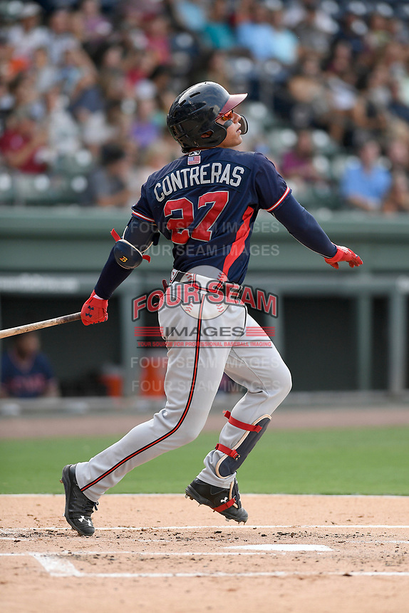 Catcher William Contreras (27) of the Rome Braves in a game against the Greenville Drive on Wednesday, July 11, 2018, at Fluor Field at the West End in Greenville, South Carolina. Greenville won, 6-4. (Tom Priddy/Four Seam Images)