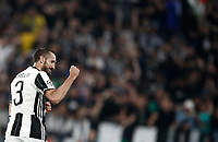 Football Soccer: UEFA Champions UEFA Champions League quarter final first leg Juventus-Barcellona, Juventus stadium, Turin, Italy, April 11, 2017. <br /> Juventus Giorgio Chiellini celebrates after scoring during the Uefa Champions League football match between Juventus and Barcelona at the Juventus stadium, on April 11 ,2017.<br /> UPDATE IMAGES PRESS/Isabella Bonotto