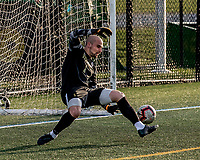 9 April 2021: University of Vermont Catamount Men's Soccer Goalkeeper Nate Silveira, a Senior from East Providence, RI, is unable to stop a second-half goal by the University of New Hampshire Wildcats at Virtue Field in Burlington, Vermont. The Catamounts fell to the visiting Wildcats 2-1 for their first loss of the season in America East, Division 1 play. Mandatory Credit: Ed Wolfstein Photo *** RAW (NEF) Image File Available ***