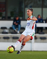 Amber Tysiak (3) of OHL in action during a female soccer game between Oud Heverlee Leuven and Racing Genk on the 14 th matchday of the 2020 - 2021 season of Belgian Womens Super League , sunday 28 th of February 2021  in Heverlee , Belgium . PHOTO SPORTPIX.BE | SPP | SEVIL OKTEM