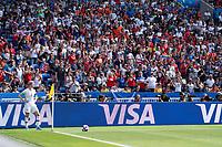 LYON, FRANCE - JULY 07: Megan Rapinoe takes a corner kick during a game between Netherlands and USWNT at Stade de Lyon on July 07, 2019 in Lyon, France.