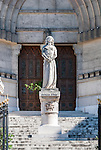 Joan of Arc statue in front of St Vincents de Paul Cathedral in Marseille, France