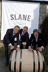 "Henry Conyngham, the eighth Marquess Conyngham, Brown-Forman executive vice president and chief brands & strategy officer Lawson Whiting and Alex Conyngham, Earl of Mount Charles unveiling the new Slane Whiskey logoat the ground breaking for the new $50 Million Slane Distillery on the grounds of Slane Castle.<br /> Picture Fran Caffrey /Newsfile.ie<br /> <br /> BROWN-FORMAN BREAKS GROUND ON<br /> NEW $50 MILLION SLANE DISTILLERY<br /> <br /> US Ambassador joins Conyngham and Brown families for historic occasion<br /> <br /> Distillery and Visitor Centre to be completed late 2016<br /> <br /> The US Ambassador to Ireland, Kevin F. O'Malley, was guest of honour today at the official ground breaking ceremony for the $50 million (approximately €44 million) Slane Distillery on the historic Slane Castle Estate in Co. Meath, home of Henry Conyngham, the eighth Marquess Conyngham, and his son Alex Conyngham, Earl of Mount Charles.<br />  <br /> The distillery, which will also include a Visitor Centre, is being built by leading US Drinks firm Brown-Forman Corporation, the owners of Jack Daniel's, Southern Comfort and Woodford Reserve which bought all shares of Slane Irish Whiskey Company from the Conyngham family earlier this year.  The Conynghams remain centrally involved in the development of the new distillery and the new whiskey brands which will be introduced in early 2017. <br />  <br /> This is the first new distillery Brown-Forman has built outside of the US and represents its entry into distilling Irish whiskey, one of the fastest growing spirits categories over the last few years.  When completed by the end of 2016, Slane Distillery will create nearly 25 new full-time jobs while the construction process will support approximately 80 jobs.  The Slane Distillery and Visitor Centre will be a welcome new attraction to the Boyne Valley tourism trail.<br />  <br /> The US Ambassador signed the first cask that will be filled with whiskey from the distillery and commented on the significance of the occasion, ""There are so many links between Ireland and the gr"