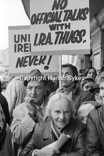 Conservative Party Conference  Blackpool Lancashire 1973. Demonstration outside conference, No Official Talks with IRA Thugs.