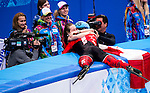 Charles Hamelin of Canada celebrates after winning the Short Track Speed Skating as part of the 2014 Sochi Olympic Winter Games at Iceberg Skating Palace on February 10, 2014 in Sochi, Russia. Photo by Victor Fraile / Power Sport Images