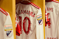 Harrison, NJ - Tuesday April 10, 2018: New York Red Bulls locker room, Alejandro Romero Gamarra prior to leg two of a  CONCACAF Champions League semi-final match between the New York Red Bulls and C. D. Guadalajara at Red Bull Arena. C. D. Guadalajara defeated the New York Red Bulls 0-0 (1-0 on aggregate).