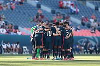 DENVER, CO - JUNE 3: USMNT huddle during a game between Honduras and USMNT at Empower Field at Mile High on June 3, 2021 in Denver, Colorado.