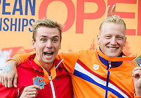 BURNELL Jack GBR silver medal jokes with WEERTMAN Ferry NED gold medal<br /> Hoorn, Netherlands <br /> LEN 2016 European Open Water Swimming Championships <br /> Open Water Swimming<br /> Men's 10km<br /> Day 01 10-07-2016<br /> Photo Giorgio Perottino/Deepbluemedia/Insidefoto