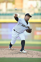 Charlotte Knights starting pitcher Odrisamer Despaigne (26) delivers a pitch to the plate against the Buffalo Bisons at BB&T BallPark on July 24, 2019 in Charlotte, North Carolina. The Bisons defeated the Knights 8-4. (Brian Westerholt/Four Seam Images)