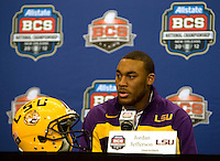 LSU quarterback Jordan Jefferson talks with the reporters during BCS Championship LSU Offensive Press Conference at Marriott Hotel at the Convention Center in New Orleans, Louisiana on January 7th, 2012.