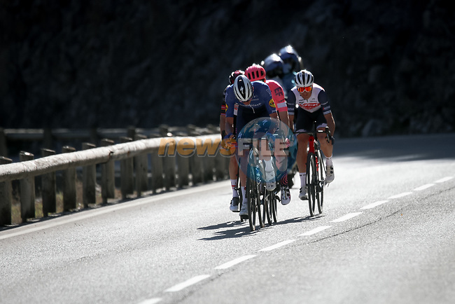 Tim Declercq (BEL) Deceuninck-QuickStep, Jonas Rutsch (GER) EF Education-Nippo, Sven Erik Bystrøm ((NOR) UAE Team Emirates and Edward Theuns (BEL) Trek-Segafredo attack during Stage 8 of Paris-Nice 2021, running 92.7km from Le Plan-du-Var to Levens, France. 14th March 2021.<br /> Picture: ASO/Fabien Boukla | Cyclefile<br /> <br /> All photos usage must carry mandatory copyright credit (© Cyclefile | ASO/Fabien Boukla)