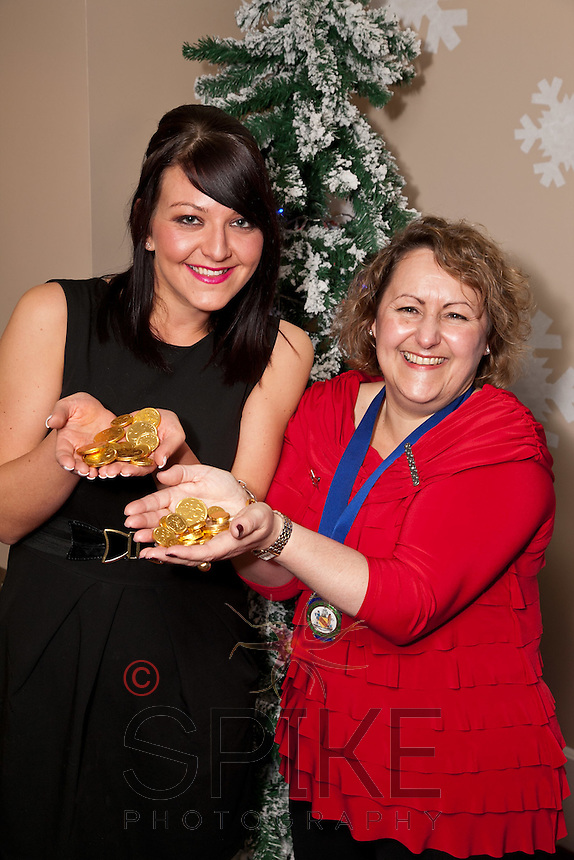 Show me the money - even if it's only chocolate! Dragon's Den star Kirsty Henshaw is pictured with Nottingham City Business Club President Deborah Labbate