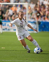 USC midfielder Ashley Nick (16) dribbles the ball.  The University of Southern California defeated Florida State University 2-0 to win the 2007 women's NCAA College Cup in College Station, TX on December 9, 2007.
