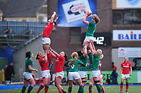 Aoife McDermott of Ireland claims the lineout during the Women's Six Nations match between Wales and Ireland at Cardiff Arms Park, Cardiff, Wales, UK. Sunday 17 March 2019