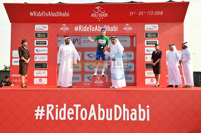 Elia Viviani (ITA) Quick-Step Floors wins Stage 2 and takes over the points Green Jersey of the 2018 Abu Dhabi Tour, Yas Island Stage running 154km from Yas Mall to Yas Beach, Abu Dhabi, United Arab Emirates. 22nd February 2018.<br /> Picture: LaPresse/Massimo Paolone | Cyclefile<br /> <br /> <br /> All photos usage must carry mandatory copyright credit (© Cyclefile | LaPresse/Massimo Paolone)