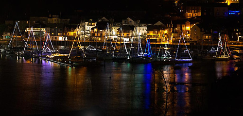 Boats at Kinsale marina are lit up for Christmas 2020