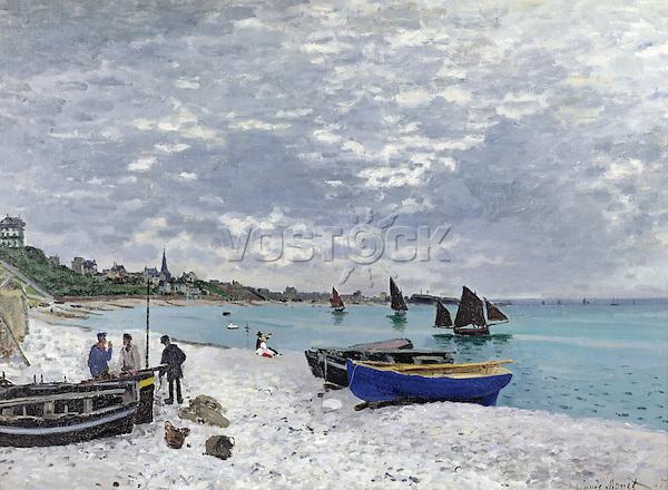 Claude Monet - The Beach at Sainte-Adresse (1867). Chicago, The Art Institute of Chicago.