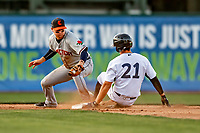 29 August 2019: Connecticut Tigers infielder Andrew Navigato in action at second base against the Vermont Lake Monsters at Centennial Field in Burlington, Vermont. The Tigers defeated the Lake Monsters 6-2 in the first game of their NY Penn League double-header.  Mandatory Credit: Ed Wolfstein Photo *** RAW (NEF) Image File Available ***