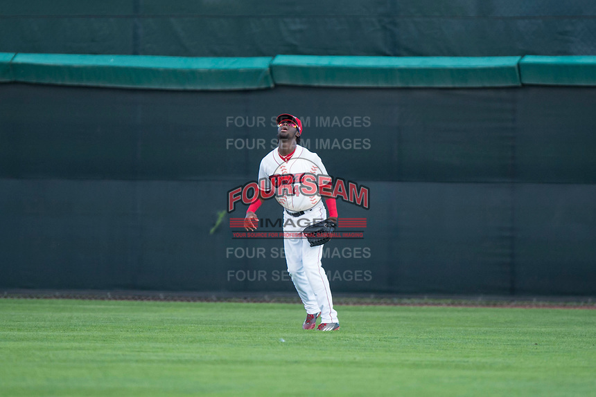 Orem Owlz center fielder D'Shawn Knowles (4) waits to catch a fly ball during a Pioneer League game against the Ogden Raptors at Home of the OWLZ on August 24, 2018 in Orem, Utah. The Ogden Raptors defeated the Orem Owlz by a score of 13-5. (Zachary Lucy/Four Seam Images)