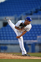 Dunedin Blue Jays pitcher Scott Silverstein (37) delivers a pitch during a game against the Clearwater Threshers on April 10, 2015 at Florida Auto Exchange Stadium in Dunedin, Florida.  Clearwater defeated Dunedin 2-0.  (Mike Janes/Four Seam Images)