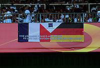 Fifa Women's World Cup Germany 2011 : France - Germany ( Frankrijk - Duitsland ) at Munchengladbach World Cup stadium : French and German flag , Frans en Duitse vlag.foto DAVID CATRY / Vrouwenteam.be