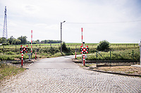 the cobbled railroad crossing up the Stationsberg in Maarkedal<br /> <br /> cycling hotspots & impressions in the Vlaamse Ardennen (Flemish Ardennes) along the 181km Spartacus (Chasing Cancellara) cycling route<br /> <br /> Cycling In Flanders <br /> Flanders Tourist Board<br /> <br /> ©kramon