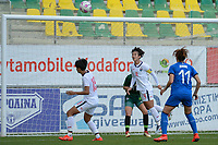20190304 - LARNACA , CYPRUS : Thai defender Pitsamai Sornsai and Thai defender Duangnapa Sritala (middle) pictured during a women's soccer game between Italy and Thailand , on Monday 4 March 2019 at the AEK Arena in Larnaca , Cyprus . This is the third game in group B for both teams during the Cyprus Womens Cup 2019 , a prestigious women soccer tournament as a preparation on the FIFA Women's World Cup 2019 in France . PHOTO SPORTPIX.BE | STIJN AUDOOREN